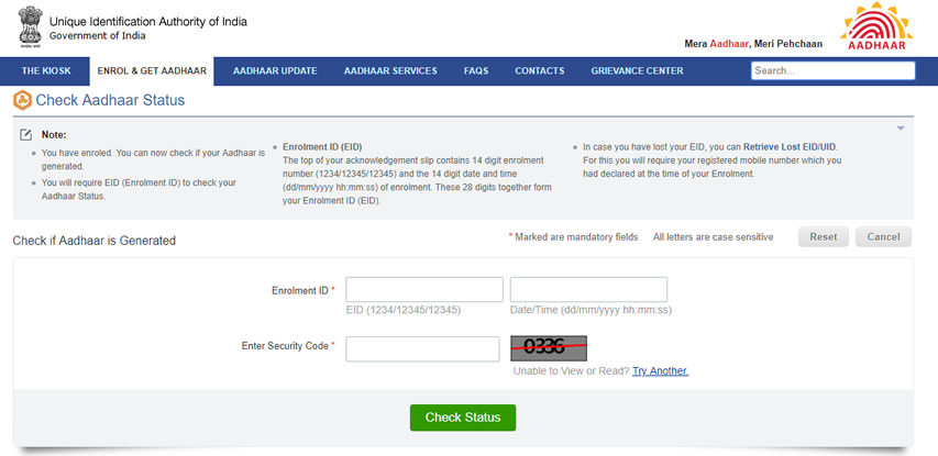 Check Aadhar Card status online via uidai.gov.in