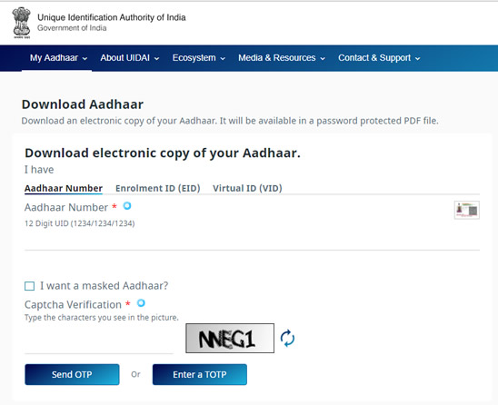 Download Aadhar Card via UIDAI